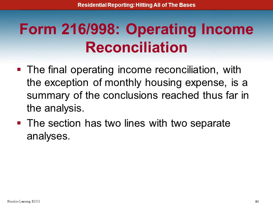 Residential Reporting: Hitting All of The Bases 81 Hondros Learning, ©2011 Form 216/998: Operating Income Reconciliation The final operating income re
