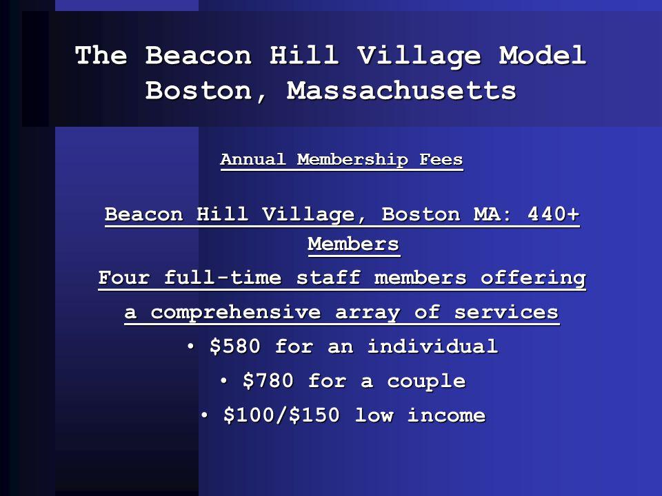 The Beacon Hill Village Model Boston, Massachusetts Annual Membership Fees Beacon Hill Village, Boston MA: 440+ Members Four full-time staff members o