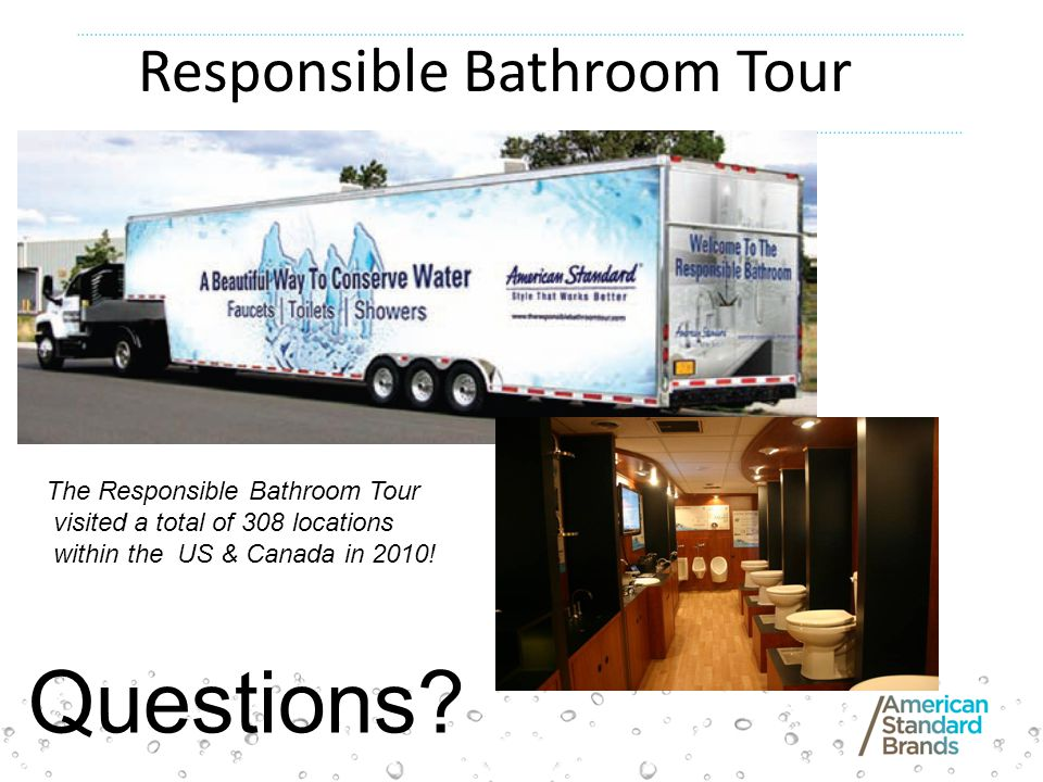 The Responsible Bathroom Tour visited a total of 308 locations within the US & Canada in 2010.