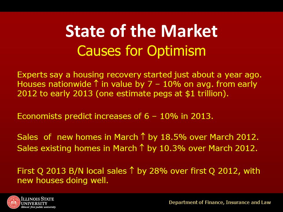 Department of Finance, Insurance and Law State of the Market Causes for Optimism Construction is up (permits, starts) to address low supply, interest rates at historic lows.