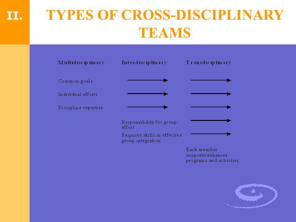 TYPES OF CROSS-DISCIPLINARY TEAMS II.
