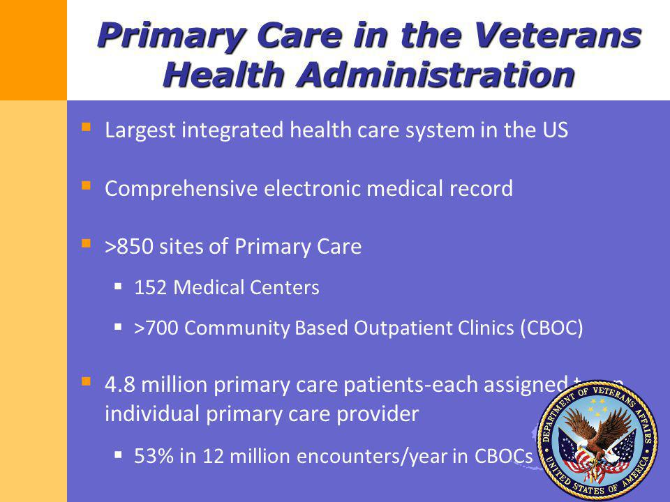 Primary Care in the Veterans Health Administration Largest integrated health care system in the US Comprehensive electronic medical record >850 sites