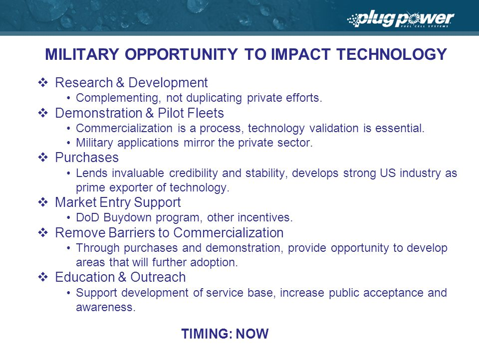 MILITARY OPPORTUNITY TO IMPACT TECHNOLOGY Research & Development Complementing, not duplicating private efforts.