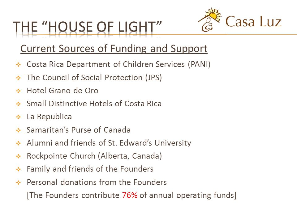 Costa Rica Department of Children Services (PANI) The Council of Social Protection (JPS) Hotel Grano de Oro Small Distinctive Hotels of Costa Rica La Republica Samaritans Purse of Canada Alumni and friends of St.