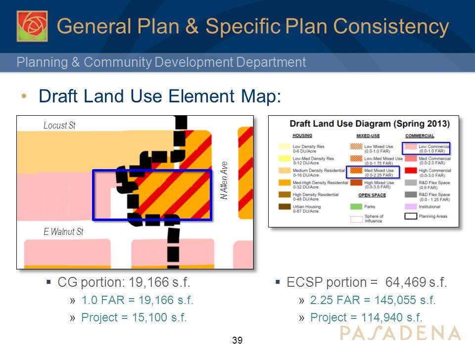 Planning & Community Development Department General Plan & Specific Plan Consistency Draft Land Use Element Map: 39 E Walnut St N Allen Ave Locust St