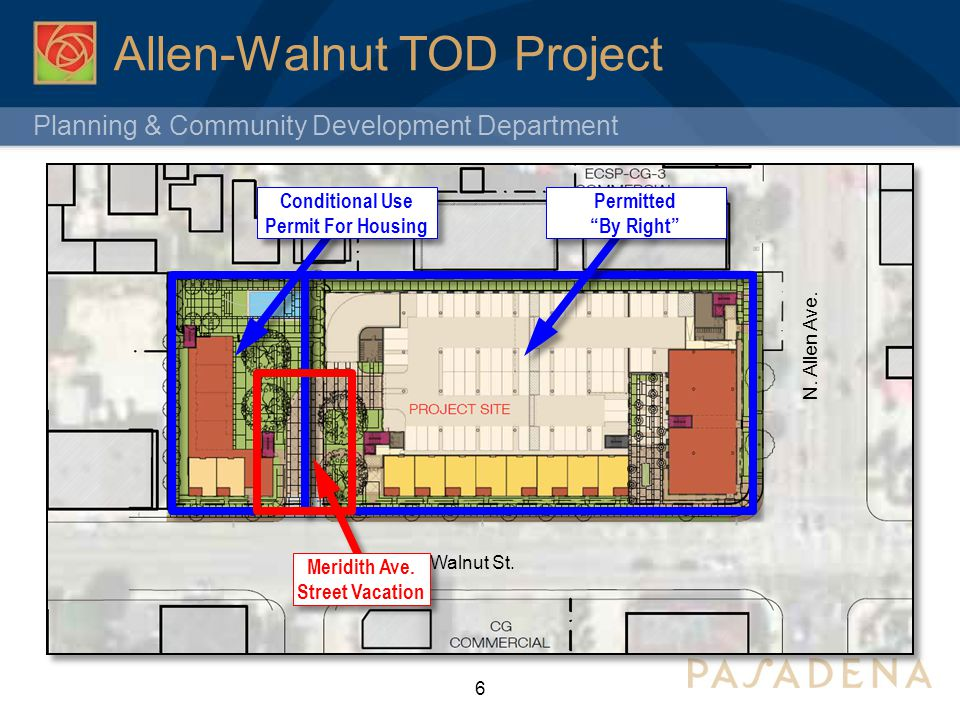 Planning & Community Development Department Allen-Walnut TOD Project 6 E. Walnut St. N. Allen Ave. Conditional Use Permit For Housing Permitted By Rig