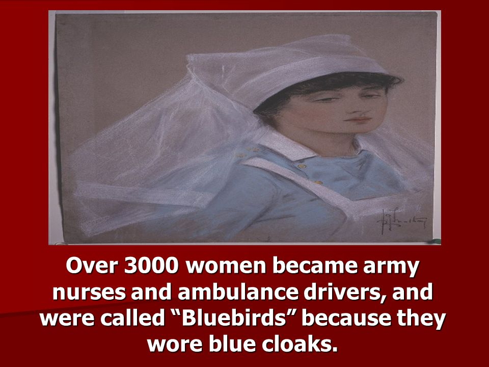 Over 3000 women became army nurses and ambulance drivers, and were called Bluebirds because they wore blue cloaks.