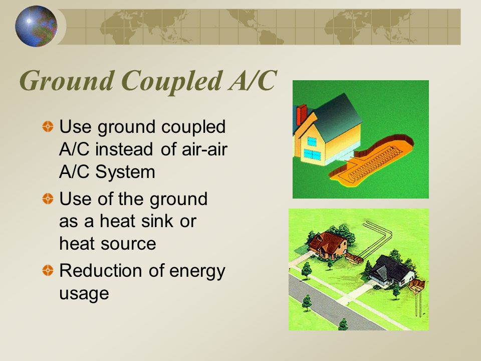 Ground Coupled A/C Use ground coupled A/C instead of air-air A/C System Use of the ground as a heat sink or heat source Reduction of energy usage