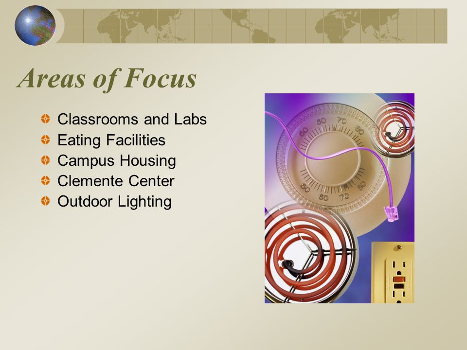 Areas of Focus Classrooms and Labs Eating Facilities Campus Housing Clemente Center Outdoor Lighting