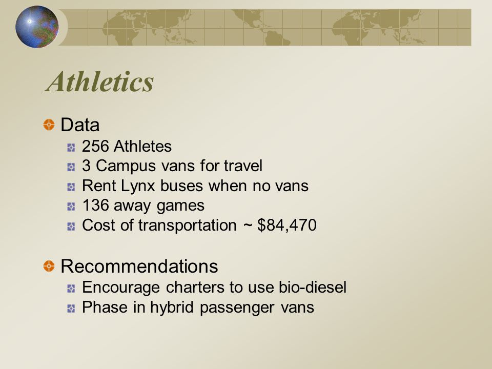 Athletics Data 256 Athletes 3 Campus vans for travel Rent Lynx buses when no vans 136 away games Cost of transportation ~ $84,470 Recommendations Encourage charters to use bio-diesel Phase in hybrid passenger vans