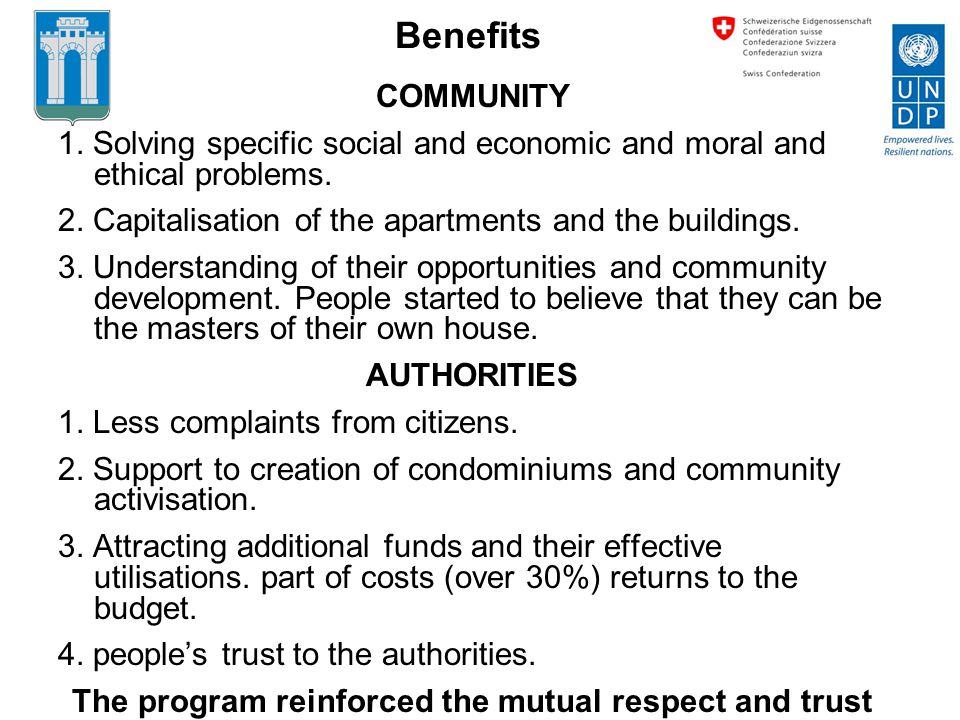 COMMUNITY 1. Solving specific social and economic and moral and ethical problems.