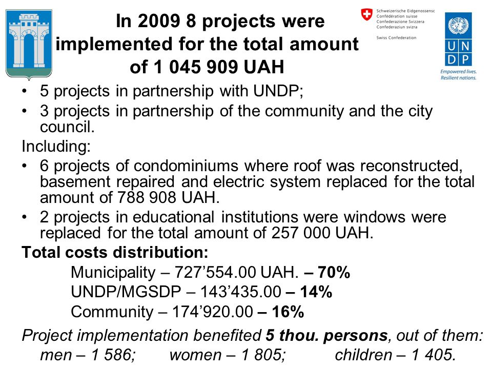 In 2009 8 projects were implemented for the total amount of 1 045 909 UAH 5 projects in partnership with UNDP; 3 projects in partnership of the commun