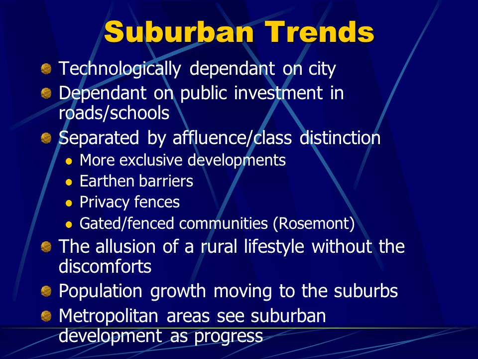 Suburban Trends Technologically dependant on city Dependant on public investment in roads/schools Separated by affluence/class distinction More exclusive developments Earthen barriers Privacy fences Gated/fenced communities (Rosemont) The allusion of a rural lifestyle without the discomforts Population growth moving to the suburbs Metropolitan areas see suburban development as progress