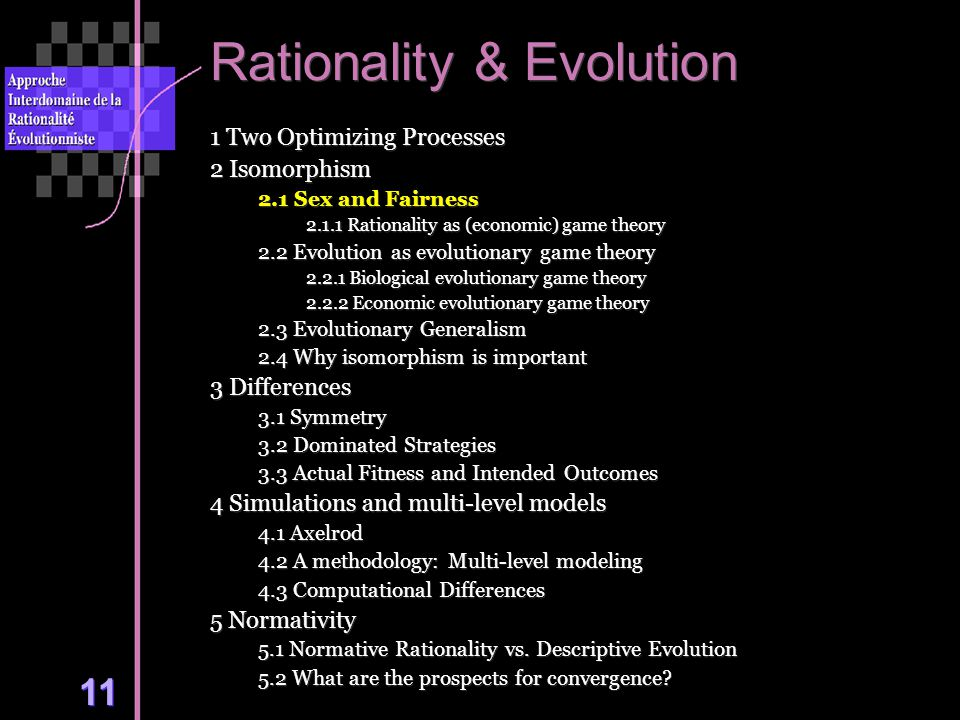 11 Rationality & Evolution 1 Two Optimizing Processes 2 Isomorphism 2.1 Sex and Fairness 2.1.1 Rationality as (economic) game theory 2.2 Evolution as