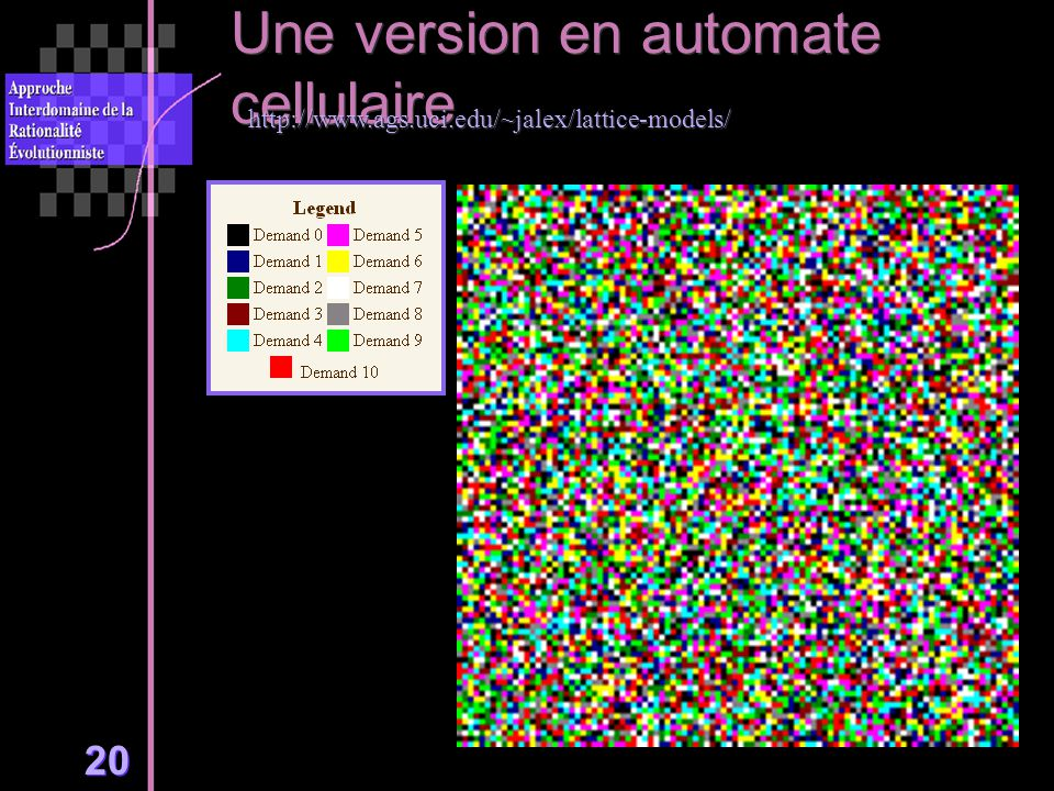 20 Une version en automate cellulaire http://www.ags.uci.edu/~jalex/lattice-models/
