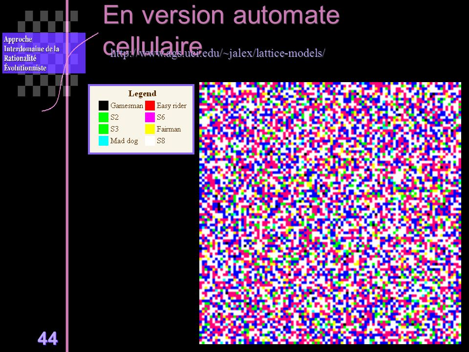 44 En version automate cellulaire http://www.ags.uci.edu/~jalex/lattice-models/