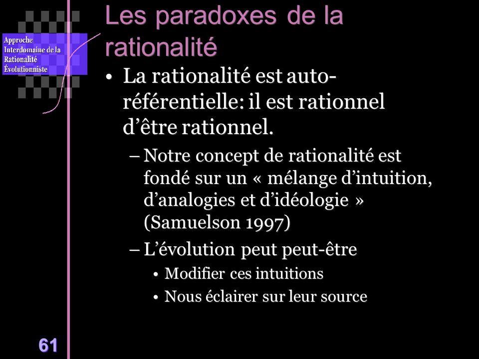61 Les paradoxes de la rationalité La rationalité est auto- référentielle: il est rationnel dêtre rationnel.