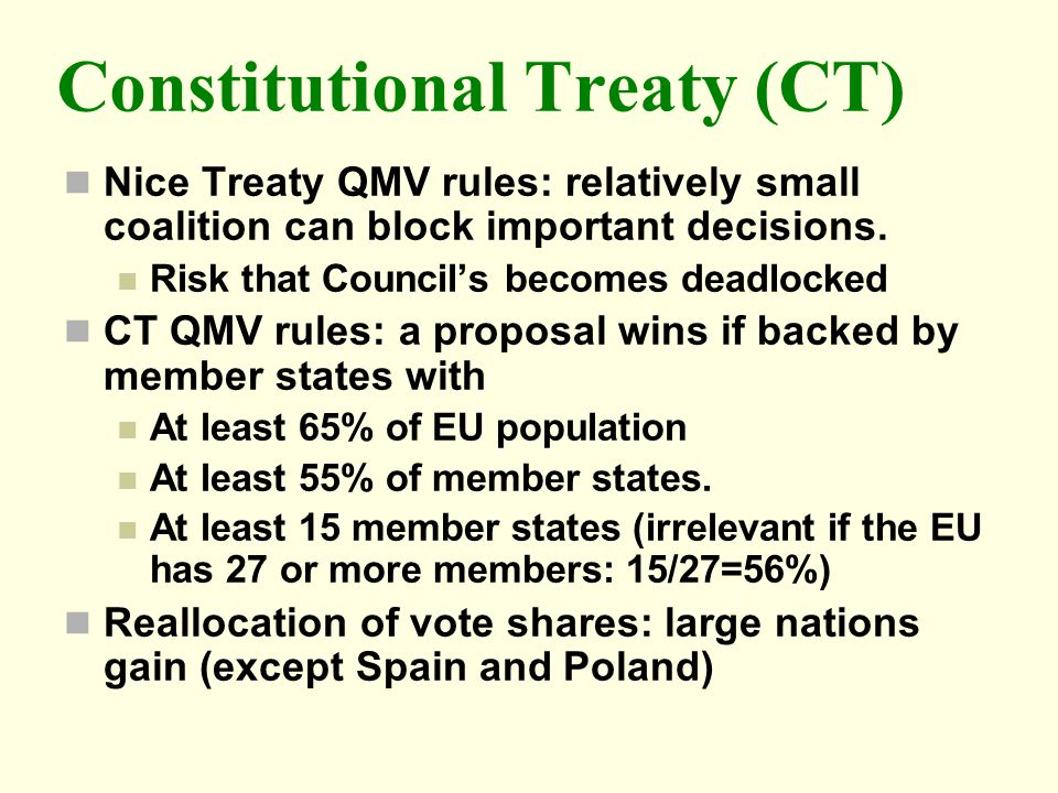 Constitutional Treaty (CT) Nice Treaty QMV rules: relatively small coalition can block important decisions. Risk that Councils becomes deadlocked CT Q