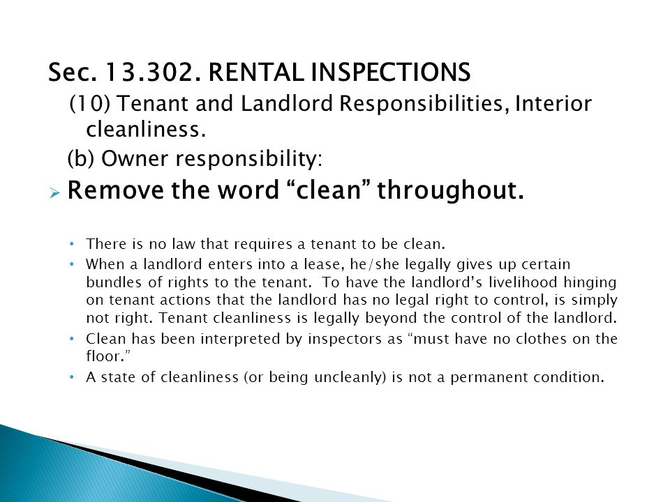 Sec. 13.302. RENTAL INSPECTIONS (10) Tenant and Landlord Responsibilities, Interior cleanliness.