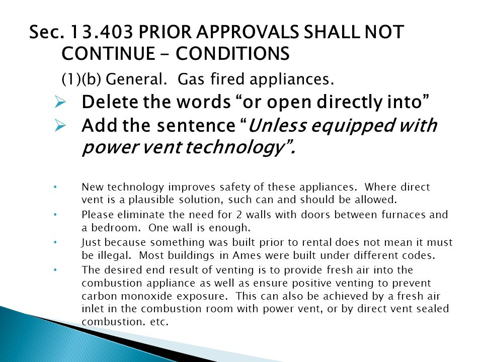 Sec. 13.403 PRIOR APPROVALS SHALL NOT CONTINUE - CONDITIONS (1)(b) General.