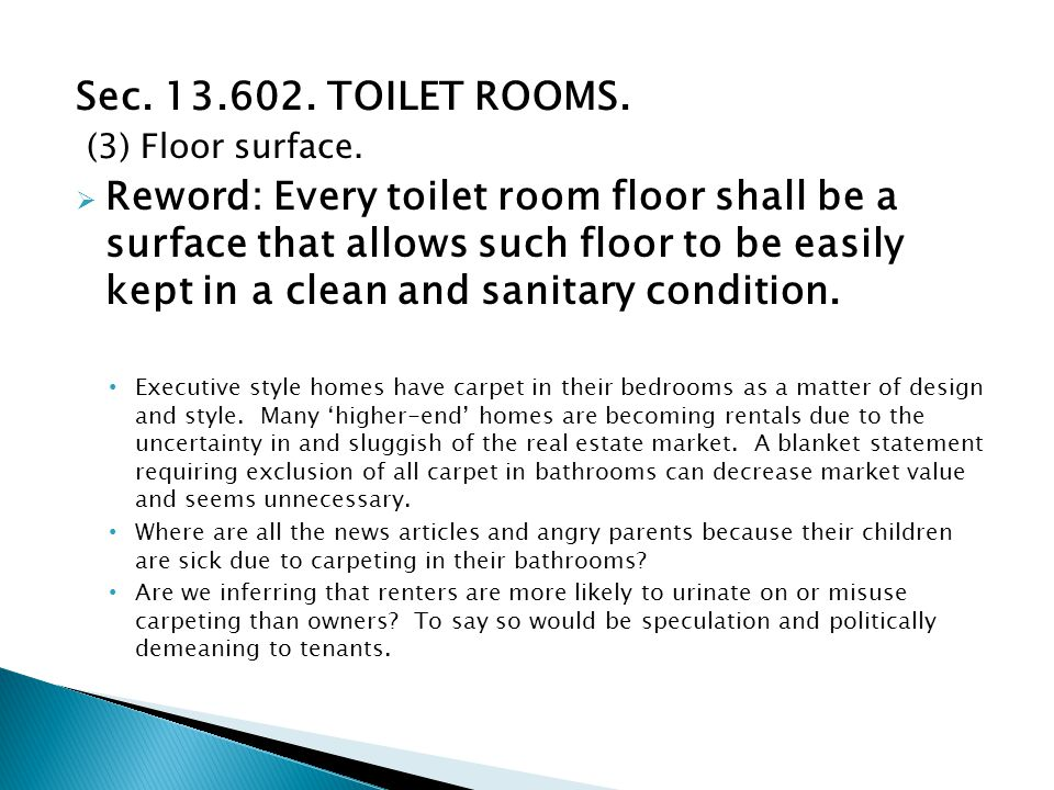 Sec. 13.602. TOILET ROOMS. (3) Floor surface.