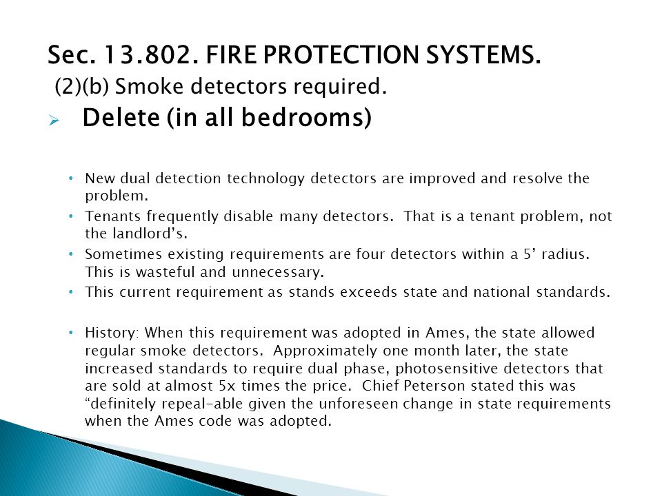 Sec. 13.802. FIRE PROTECTION SYSTEMS. (2)(b) Smoke detectors required.