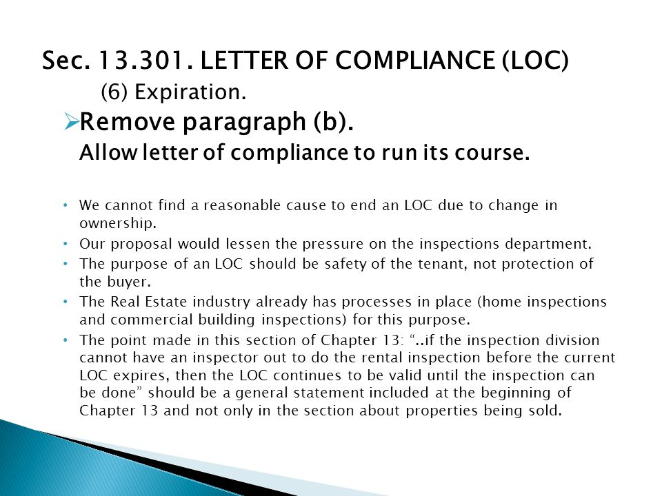 Sec. 13.301. LETTER OF COMPLIANCE (LOC) (6) Expiration.