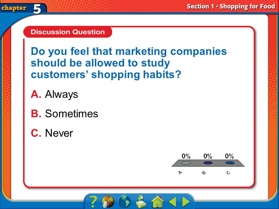 A.A B.B C.C Section 1 Do you feel that marketing companies should be allowed to study customers shopping habits.