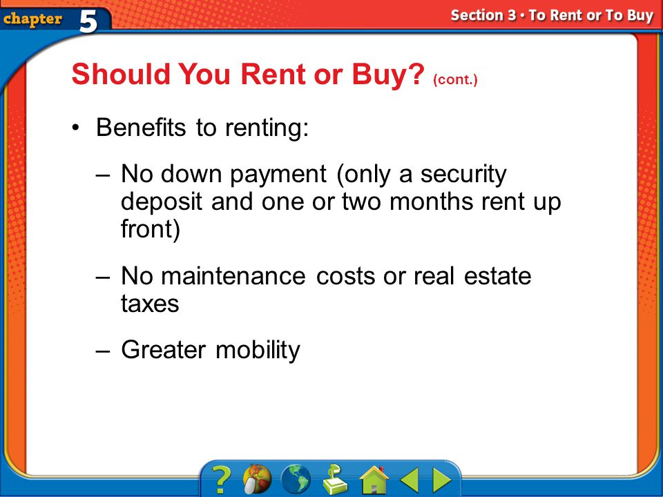 Section 3 Should You Rent or Buy.