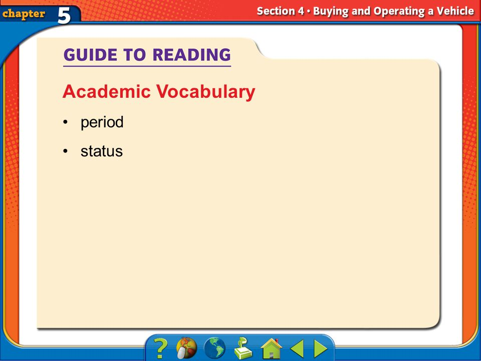 Section 4-Objectives period status Academic Vocabulary
