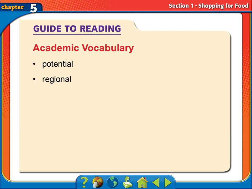 Section 1-Key Terms potential regional Academic Vocabulary