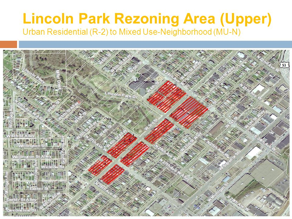 Lincoln Park Rezoning Area (Upper) Urban Residential (R-2) to Mixed Use-Neighborhood (MU-N)