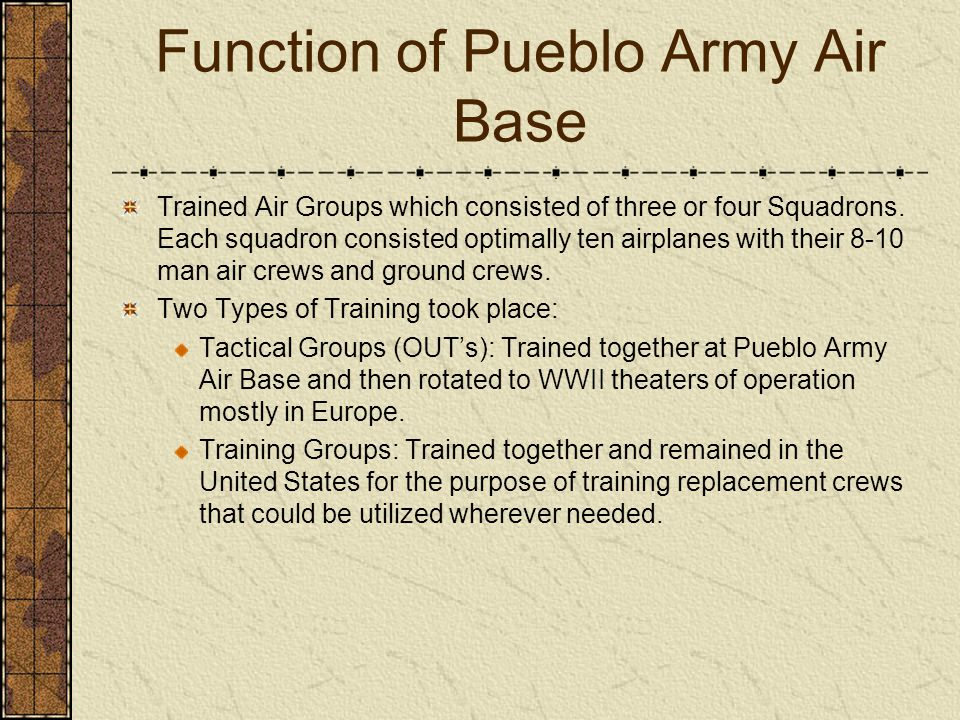 Function of Pueblo Army Air Base Trained Air Groups which consisted of three or four Squadrons. Each squadron consisted optimally ten airplanes with t