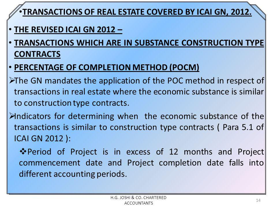 TRANSACTIONS OF REAL ESTATE COVERED BY ICAI GN, 2012.