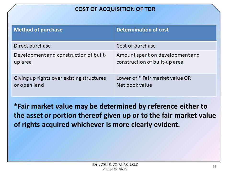 COST OF ACQUISITION OF TDR *Fair market value may be determined by reference either to the asset or portion thereof given up or to the fair market val