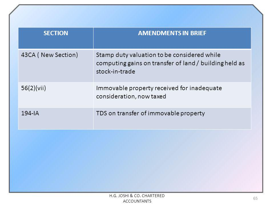 65 SECTIONAMENDMENTS IN BRIEF 43CA ( New Section)Stamp duty valuation to be considered while computing gains on transfer of land / building held as st