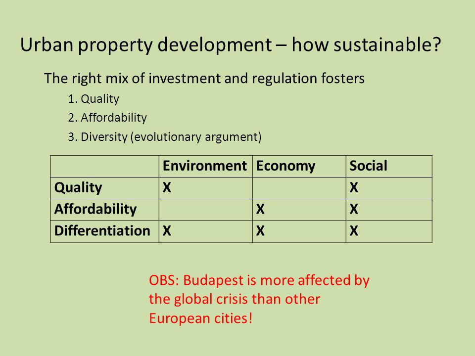 Urban property development – how sustainable. The right mix of investment and regulation fosters 1.