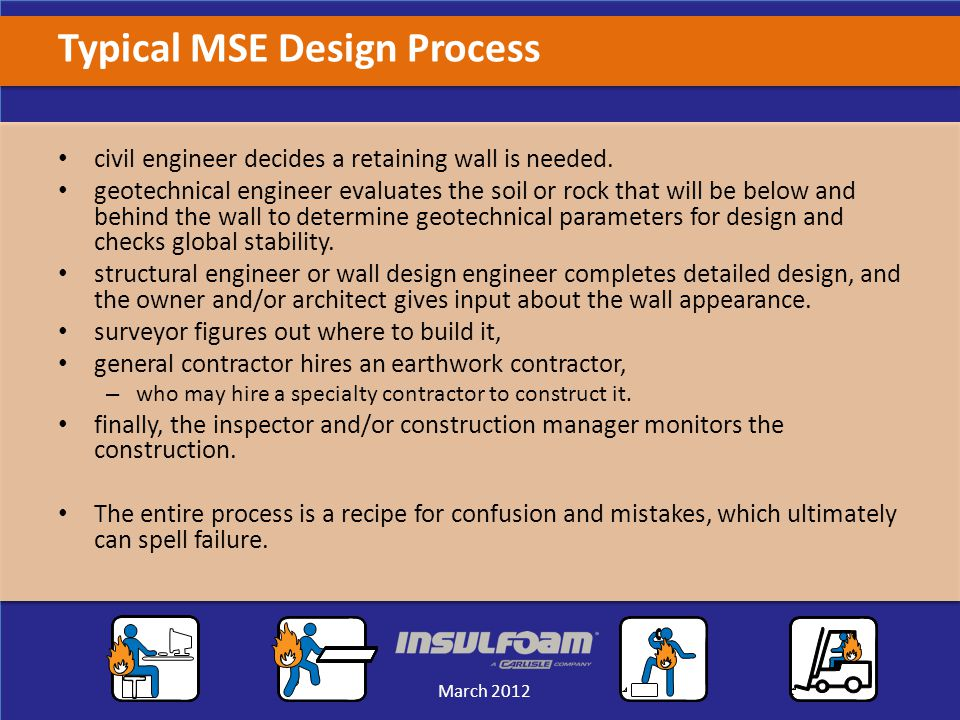 Sales Meeting March 2012 March 2012 Typical MSE Design Process civil engineer decides a retaining wall is needed.