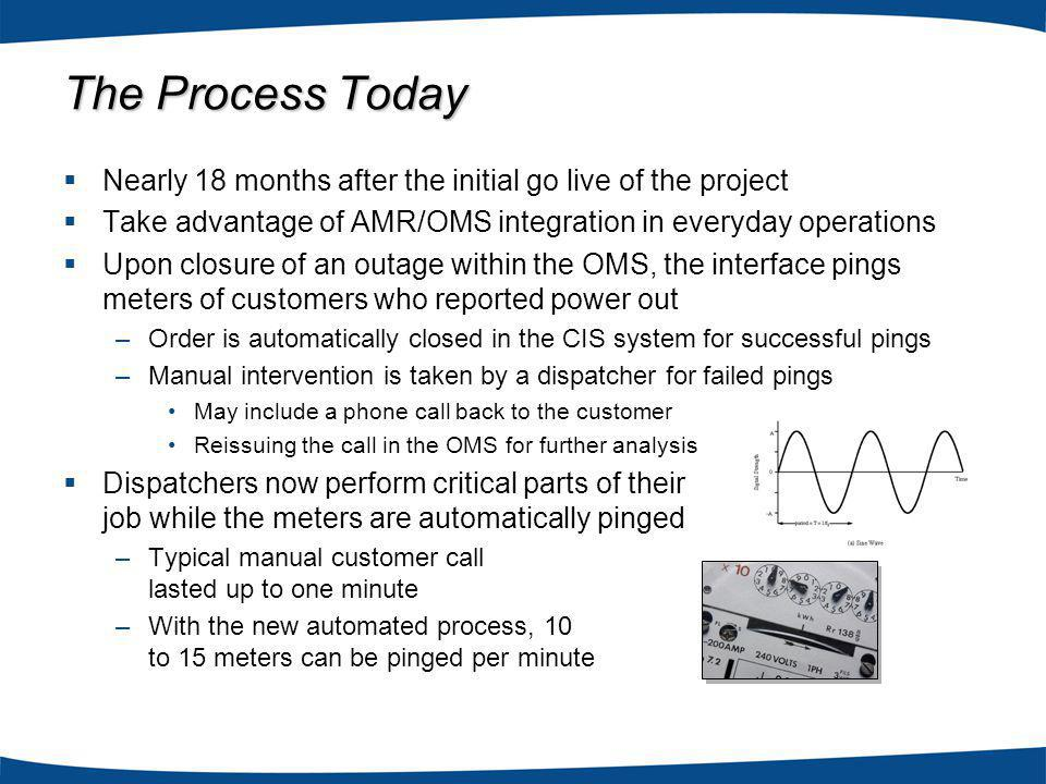 The Process Today Nearly 18 months after the initial go live of the project Take advantage of AMR/OMS integration in everyday operations Upon closure of an outage within the OMS, the interface pings meters of customers who reported power out –Order is automatically closed in the CIS system for successful pings –Manual intervention is taken by a dispatcher for failed pings May include a phone call back to the customer Reissuing the call in the OMS for further analysis Dispatchers now perform critical parts of their job while the meters are automatically pinged –Typical manual customer call lasted up to one minute –With the new automated process, 10 to 15 meters can be pinged per minute