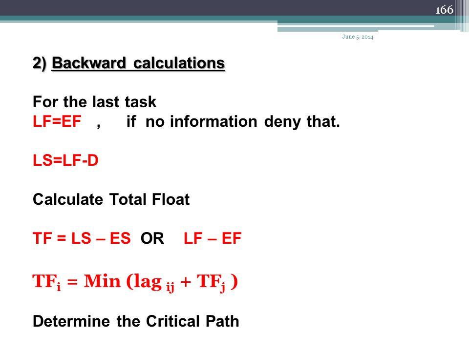 165 Calculation 1)forward calculations EF = ES + D Calculate the Lag LAG AB = ES B – EF A Calculate the Free Float FF = Min. (LAG) June 5, 2014