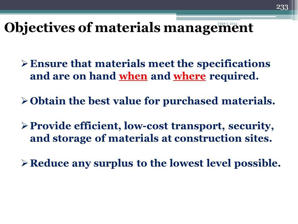 232 Materials management functions Identifying. Acquiring. Distributing. Disposing. June 5, 2014