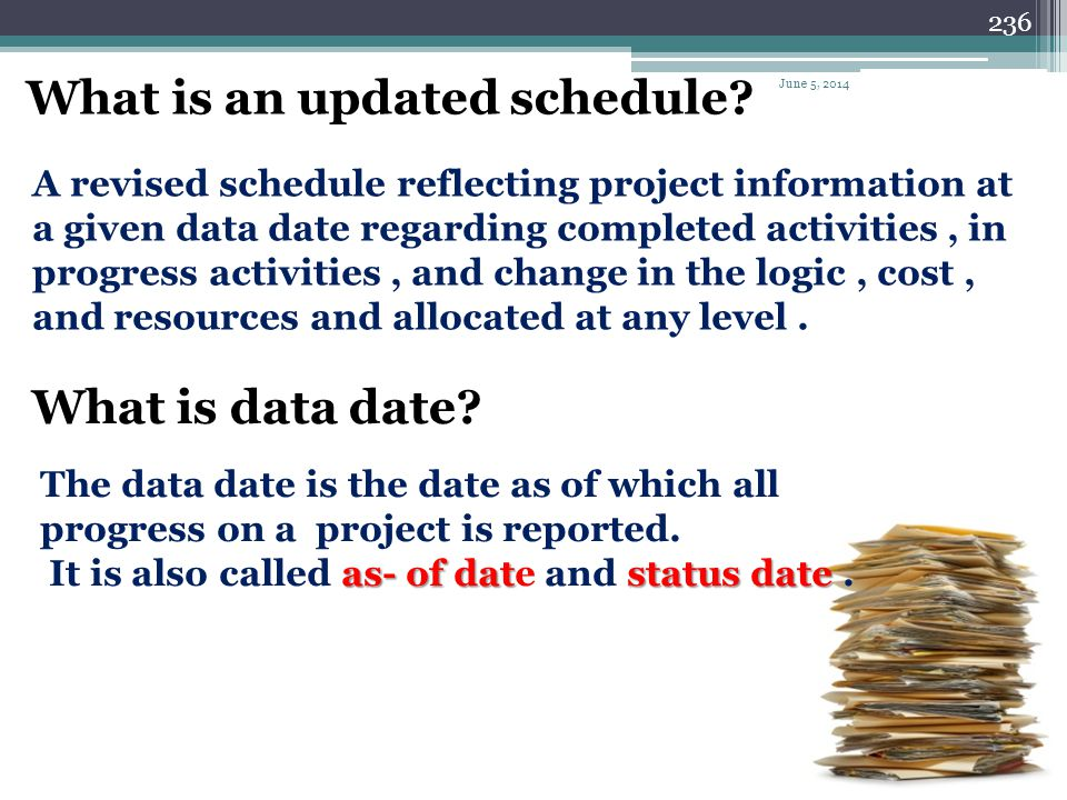 235 Schedule updating Schedule updating is just one part of the project control process. Schedule updating must reflect Actual work, and involves chan
