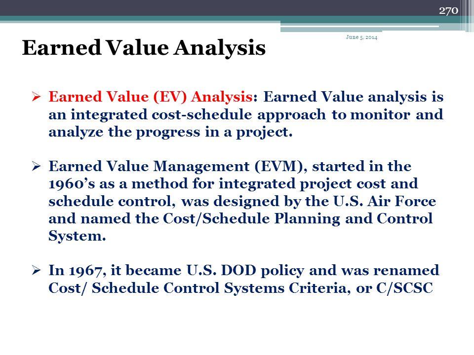 269 Earned Value Analysis June 5, 2014