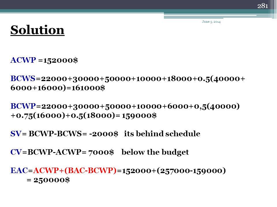 280 Activitycostm1m2m3m4m5m6 1$22000 2$10000 3$18000 4$30000 5$50000 6$40000 7$6000 8$16000 9$13000 10$4000 11$34000 12$14000 June 5, 2014