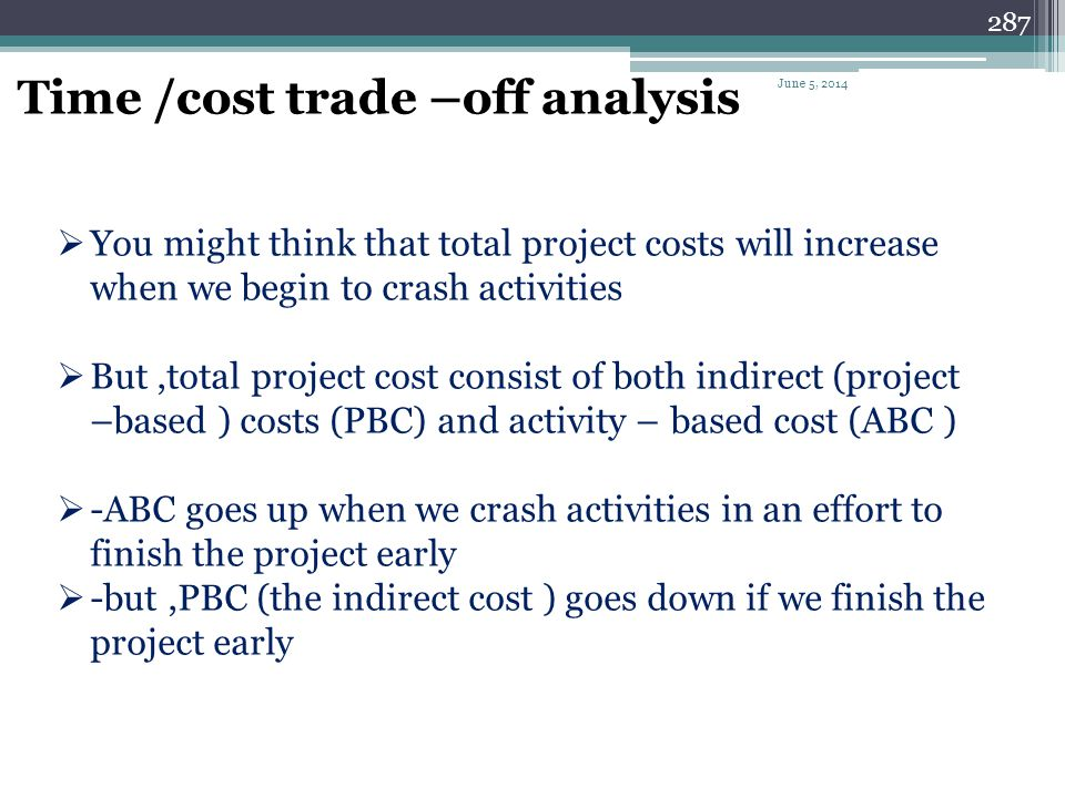286 Time /cost trade –off analysis Time /cost trade –off analysis is the compression of the project schedule to achieve a more favorable outcome in te