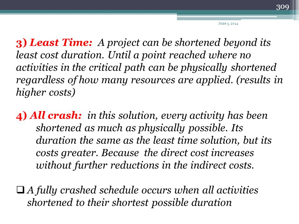 308 Project duration General relation of project costs to project duration Project Costs Direct costs indirect costs Total project costs June 5, 2014