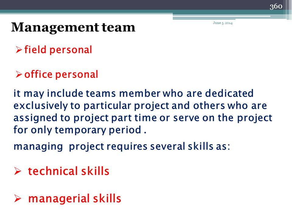 359 Project manager team The project manager team consist of: (for large project) assistant PM project superintendent project engineer scheduler estim