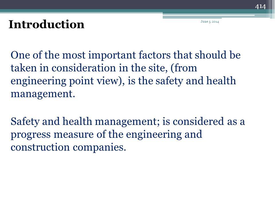Safety & Health Management 413 June 5, 2014