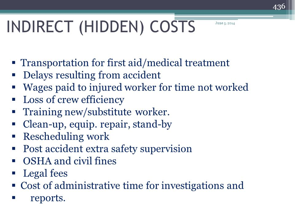 DIRECT COSTS 435 Workers compensation insurance premiums paid by contractor (mainly for medical bills) Liability insurance costs Property related insu