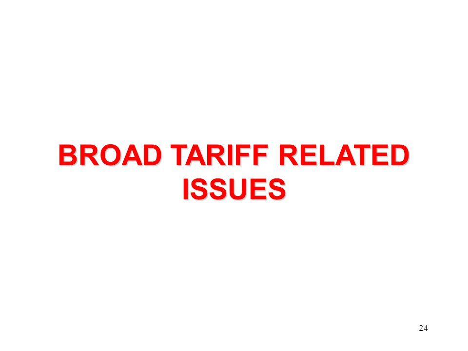 24 BROAD TARIFF RELATED ISSUES